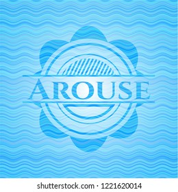 Arouse water wave representation emblem.