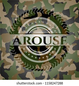 Arouse written on a camouflage texture