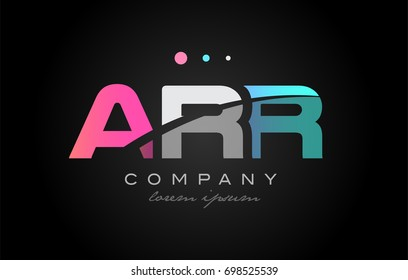 ARR a r r three 3 letter logo combination alphabet vector creative company icon design template modern  pink blue white grey