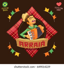 Arraia (means village, also name Brazilian June Parties) - Accordion player logo / Made in Brazil - Made with love - Creative vector cartoon logo for june party themes