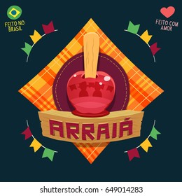 Arraia (means village, also name Brazilian June Parties) - Apple candy logo / Made in Brazil - Made with love - Creative vector cartoon logo for june party themes