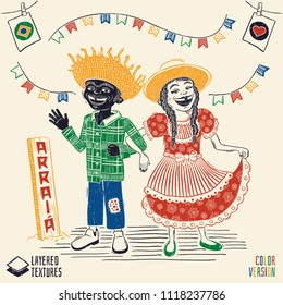 Arraia (means village, also name June Parties) - Happy multiracial hick couple - Brazilian June Party with diversity - Detailed vector for june party themes. Removable wood texture.