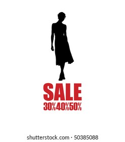 Arrangement with the female silhouette. A woman wearing a dress. Below is the inscription SALE.
