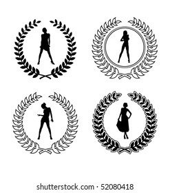 Arrangement with four wreaths and feminine silhouette. They are located on a white background.
