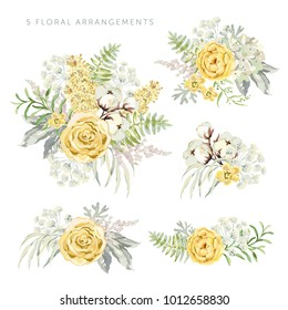 Arrangements with yellow flowers on the white background. Rose, lilac, cotton, green leaves. Watercolor vector illustration. Romantic garden bouquets.