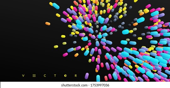 Array with dynamic emitted particles. Abstract background. 3d vector illustration.