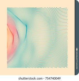 Array with dynamic particles. 3d futuristic technology style. Abstract background. Vector illustration.