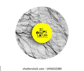 Array with dynamic particles of small particles in circle. Modern science and technology element. Abstract dotted background. Vector illustration.