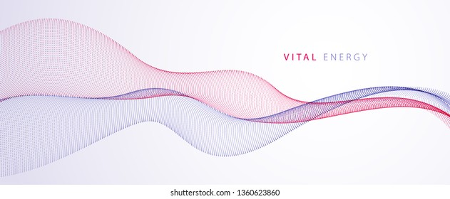 Array of particles flowing, dynamic sound wave. 3d vector illustration. Mesh round dots, beautiful relaxing wallpaper illustration.