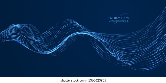 Array of particles flowing over dark background, dynamic sound wave. 3d vector illustration. Mesh shining round dots, beautiful relaxing wallpaper illustration.