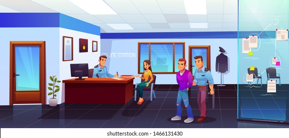 Arrest of criminal in police station, policeman leads suspect bandit in handcuffs, girl victim or witness testimony, man officer listening and writing woman testify cop work Cartoon vector Illustration