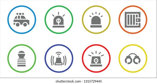 arrest icon set. 8 filled arrest icons.  Simple modern icons about  - Police car, Prisioner, Siren, Jail, Handcuffs