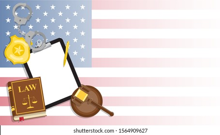 Arrest warrant on black tablet lies with police handcuffs and legal book, gavel and golden badge on United States flag background. Vector flat lay illustration. Template for business card or banner