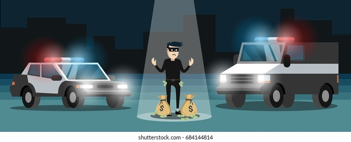 Arrested thief character with bags of money, police cars
