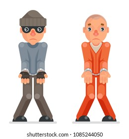 Arrested thief prisoner criminal hands handcuff caught evil greedily cartoon rogue character captured flat design isolated vector illustration