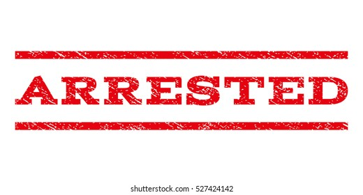 Arrested watermark stamp. Text tag between horizontal parallel lines with grunge design style. Rubber seal red stamp with dust texture. Vector ink imprint on a white background.