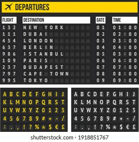 Arrival Departure Board and alphabet stock illustration