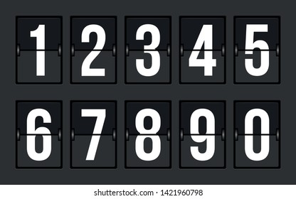 Arrival Departure Board Numbers Vector Set