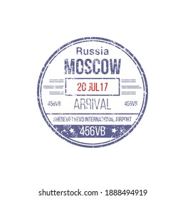 Arrival visa stamp to Sheremetyevo international airport isolated template. Vector Russian border control sign