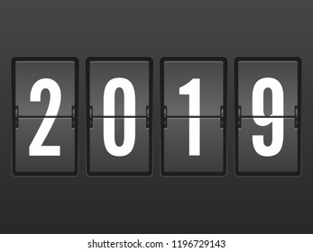 Arrivals 2019 year flip clock. Vector illustration.