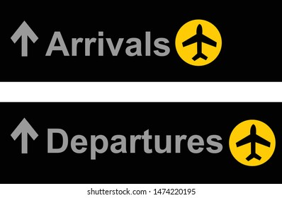 arrivals departures sign for airport