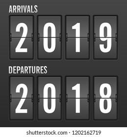 Arrivals and departures year flip clock. Vector illustration.