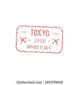 Arrived to Tokyo, Japan isolated airport visa stamp. Vector grunge border control seal