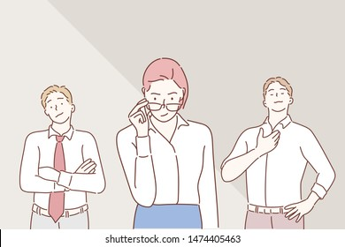 Arrogant business people. Hand drawn style vector design illustrations.