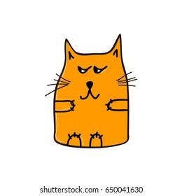 Arrogant funny orange cat. Vector illustration.