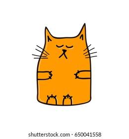 Arrogant orange cat. Vector illustration.