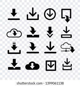 arroows download icons vector isolated  for creating button, bar and web app icons, download now symbol, vector arrow down document file symbol icon set