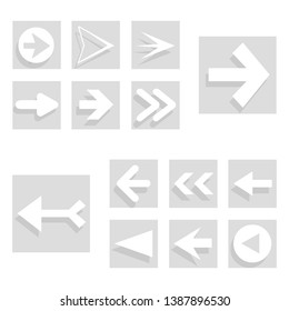 Arrow back and right icon set isolated on white background. Trendy collection of different arrow icons in flat style for web site, app and ui. White arrows right and left template. Vector illustration