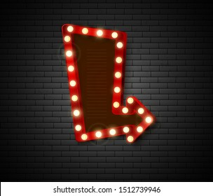 Arrow banner. Retro signboard with shiny lights. Advertising banner on brick wall. Vector illustration