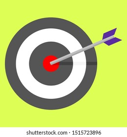 arrow bow hit on center point of archery target on green background. achievement, success symbols concept