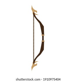 Arrow bow weapon archery vector illustration icon. Isolated element sign arrow bow ancient hunter art. Native tribal hand longbow clip art silhouette drawing weapon archery indian vintage style