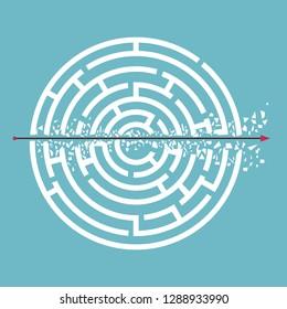 Arrow breaking walls goes through the maze