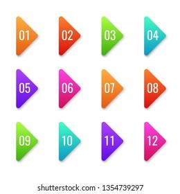 Arrow bullet point. Colorful baler bullets template direction shape markers next number cursor button web set flat vector elements illustration