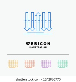 Arrow, business, distinction, forward, individuality 5 Color Line Web Icon Template isolated on white. Vector illustration