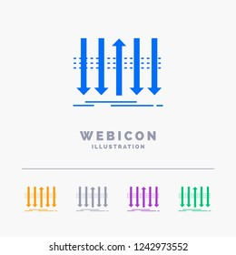 Arrow, business, distinction, forward, individuality 5 Color Glyph Web Icon Template isolated on white. Vector illustration