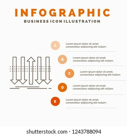 Arrow, business, distinction, forward, individuality Infographics Template for Website and Presentation. Line Gray icon with Orange infographic style vector illustration