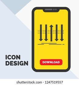Arrow, business, distinction, forward, individuality Glyph Icon in Mobile for Download Page. Yellow Background