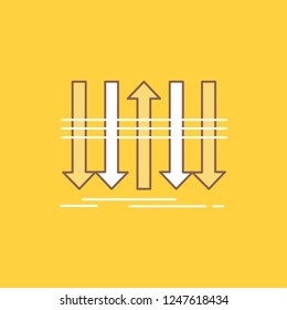 Arrow, business, distinction, forward, individuality Flat Line Filled Icon. Beautiful Logo button over yellow background for UI and UX, website or mobile application