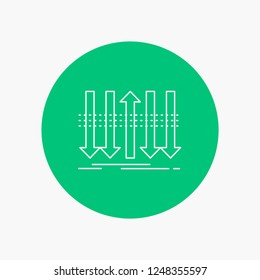 Arrow, business, distinction, forward, individuality White Line Icon in Circle background. vector icon illustration