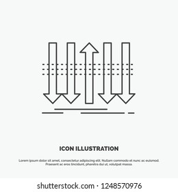 Arrow, business, distinction, forward, individuality Icon. Line vector gray symbol for UI and UX, website or mobile application
