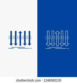 Arrow, business, distinction, forward, individuality Line and Glyph web Button in Blue color Vertical Banner for UI and UX, website or mobile application
