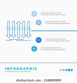 Arrow, business, distinction, forward, individuality Infographics Template for Website and Presentation. Line Blue icon infographic style vector illustration