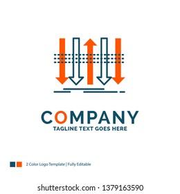 Arrow, business, distinction, forward, individuality Logo Design. Blue and Orange Brand Name Design. Place for Tagline. Business Logo template.