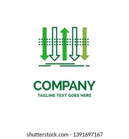 Arrow, business, distinction, forward, individuality Flat Business Logo template. Creative Green Brand Name Design.