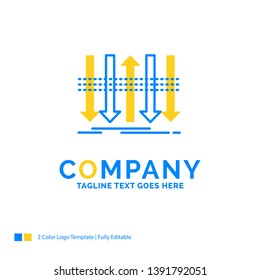 Arrow, business, distinction, forward, individuality Blue Yellow Business Logo template. Creative Design Template Place for Tagline.