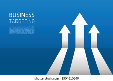 Arrow business growing up to success goals on blue background. Return on investment chart increases. Vision for financial growth stretching. Flat style vector illustration. Copy-space for text.
